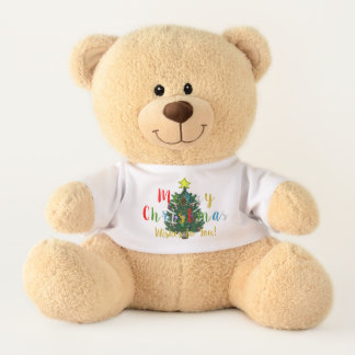 Ursinho De Pelúcia O Feliz Natal decorou o urso de ursinho da árvore