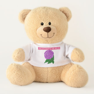 Ursinho De Pelúcia Urso de ursinho floral roxo de XO