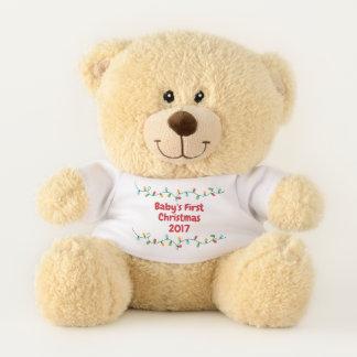 Ursinho De Pelúcia Urso do Natal do bebê primeiro