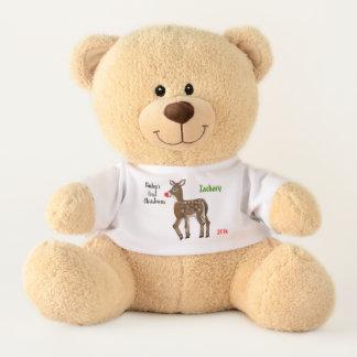 Ursinho De Pelúcia Urso personalizado primeira rena do Natal do bebê