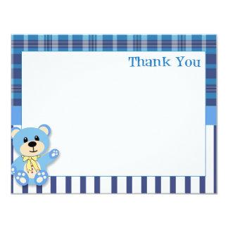 Urso azul com cartões de agradecimentos da xadrez convites personalizados
