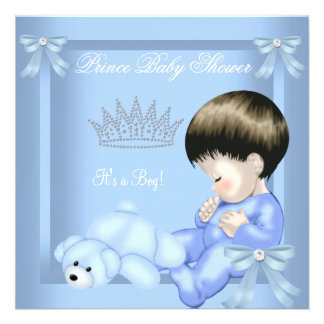 Urso azul do brinquedo do menino pequeno do prínci convites