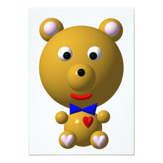 Urso bonito com bowtie e coração! convite 12.7 x 17.78cm