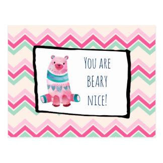 Urso bonito da aguarela em um obrigado do teste cartão postal