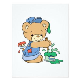 Urso bonito do pintor convite