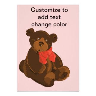 Urso bonito dos desenhos animados convite 12.7 x 17.78cm