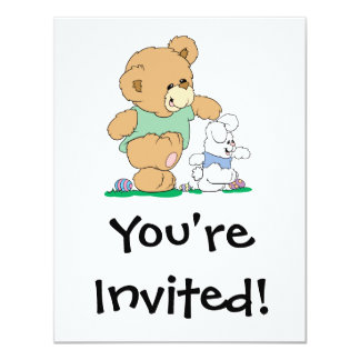 Urso bonito e coelhinho da Páscoa Convites Personalizado