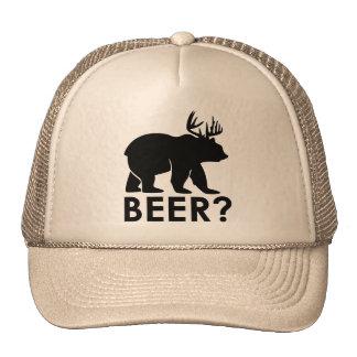 Urso + Cervos = cerveja? chapéu do camionista Boné