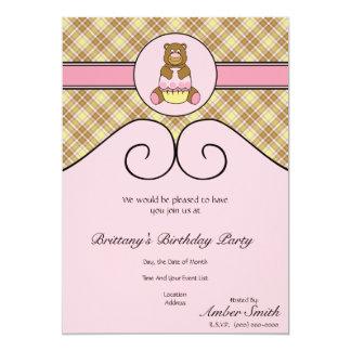 Urso com convite cor-de-rosa da xadrez da baunilha convite 12.7 x 17.78cm