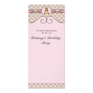 Urso com convite cor-de-rosa da xadrez do rosa do convite 10.16 x 23.49cm