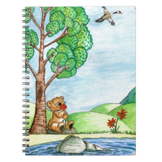 """""""Urso com o caderno espiral das flores"""""""