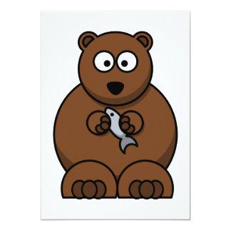 Urso com uns desenhos animados dos peixes convite personalizados
