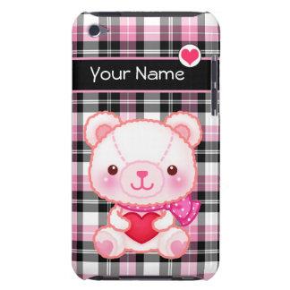 Urso cor-de-rosa bonito com o coração vermelho - capa para iPod touch