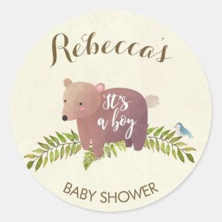 urso da floresta da etiqueta do chá de fraldas é