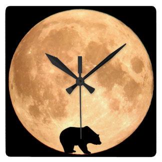Urso da Lua cheia Relógio Quadrado