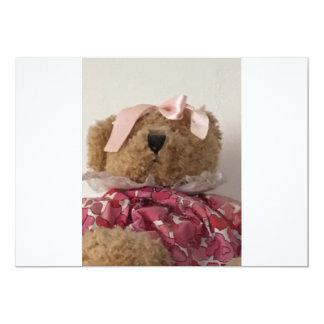 Urso da menina convite 12.7 x 17.78cm