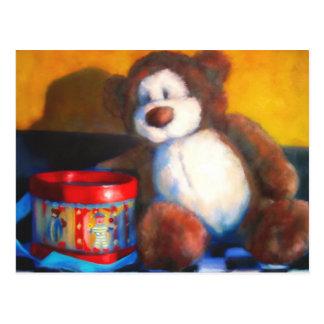 Urso de Brown com o cartão do cilindro vermelho