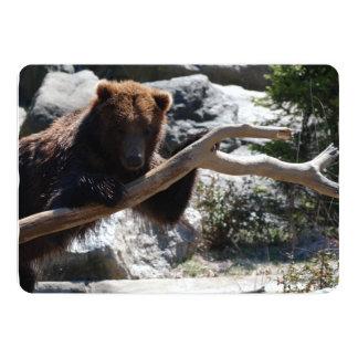 Urso de Brown de relaxamento Convite 12.7 X 17.78cm