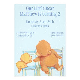 Urso de Brown grande e aniversário amarelo do urso Convite 12.7 X 17.78cm