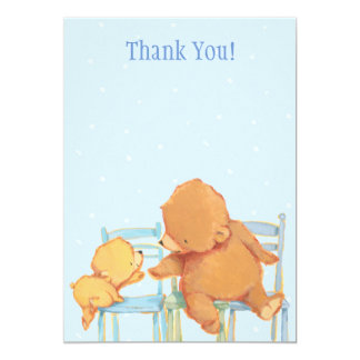 Urso de Brown grande e obrigado amarelo do urso Convite 12.7 X 17.78cm
