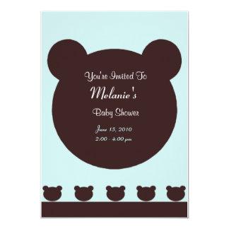 Urso de Brown no chá de fraldas azul esverdeado do Convite 12.7 X 17.78cm