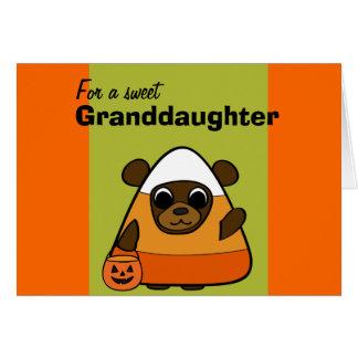 Urso de Brown no traje do milho de doces Cartão