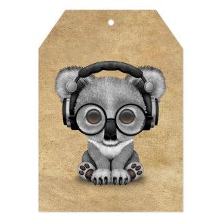 Urso de Koala bonito DJ do bebê que veste fones de Convite 12.7 X 17.78cm