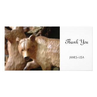 Urso de madeira da Floresta Negra Cartoes Com Fotos Personalizados