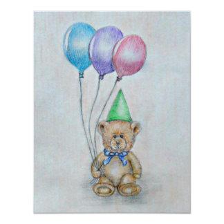 urso de ursinho, aniversário convite 10.79 x 13.97cm