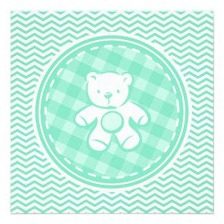 Urso de ursinho Aqua Chevron verde Convite Personalizados