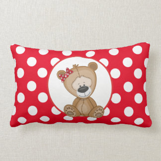 Urso de ursinho bonito com bolinhas almofada lombar