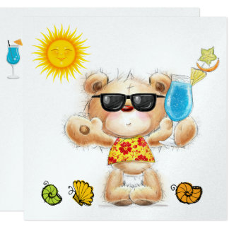Urso de ursinho com convite 2 do cocktail