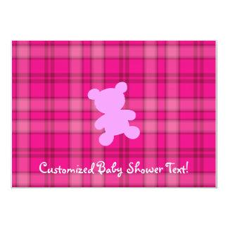 Urso de ursinho - convite cor-de-rosa do chá de