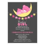 Urso de ursinho cor-de-rosa da menina do sono no c convites personalizado