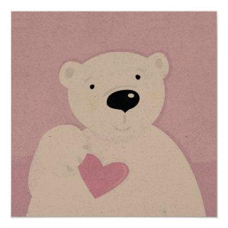 Urso de ursinho da assinatura de Kraft do artesão Convite Quadrado 13.35 X 13.35cm