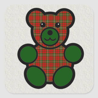 Urso de ursinho da xadrez de Tartan de Scott Adesivo Quadrado