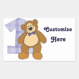 Urso de ursinho de Brown do laço com número 1 Adesivos Em Forma Retangular
