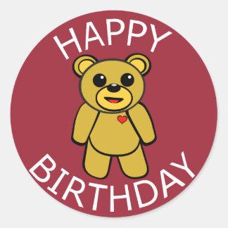 Urso de ursinho do feliz aniversario adesivo