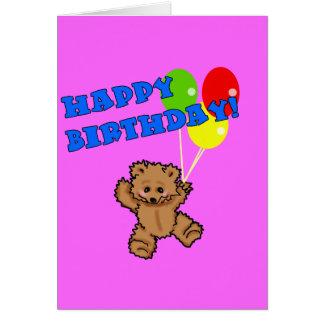 Urso de ursinho do feliz aniversario com balões cartao