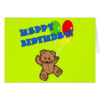 Urso de ursinho do feliz aniversario com balões cartões