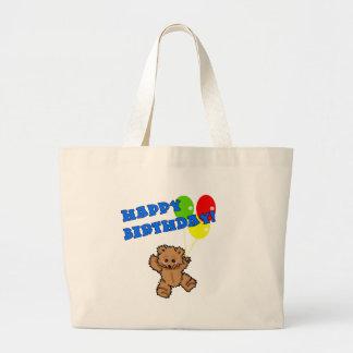 Urso de ursinho do feliz aniversario com balões sacola tote jumbo