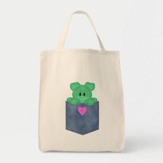 Urso de ursinho do verde do bolso de Jean Sacola Tote De Mercado