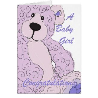 Urso de ursinho dos parabéns do bebé no rosa cartão comemorativo