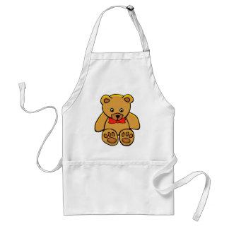 Urso de ursinho dourado com arco avental