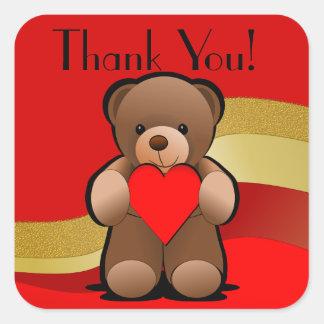 Urso de ursinho e obrigado do coração você adesivo quadrado