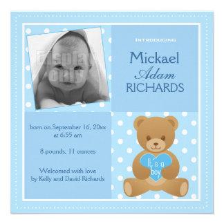Urso de ursinho ele s cartão anúncio de um meni convites personalizado