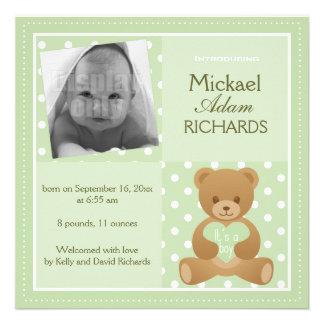 Urso de ursinho ele s cartão anúncio de um meni convites personalizados