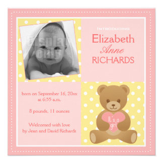 Urso de ursinho ele s cartão anúncio de uma men convite personalizados