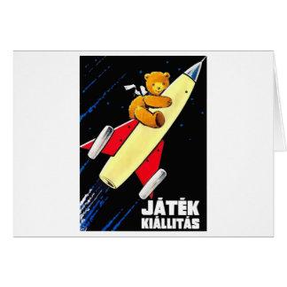 Urso de ursinho em um brinquedo húngaro do vintage cartão comemorativo
