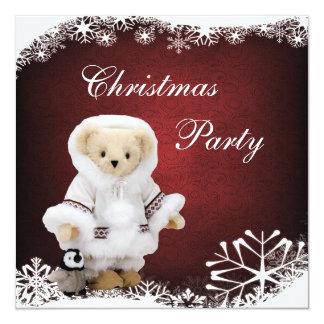 Urso de ursinho Eskimo bonito & festa de Natal do Convite Quadrado 13.35 X 13.35cm